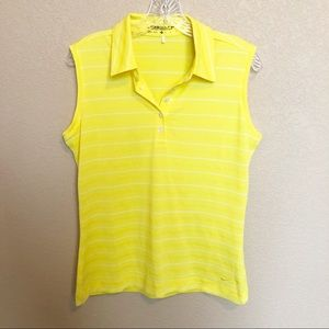 NIKE GOLF Striped Dri Fit Yellow Collared Tank